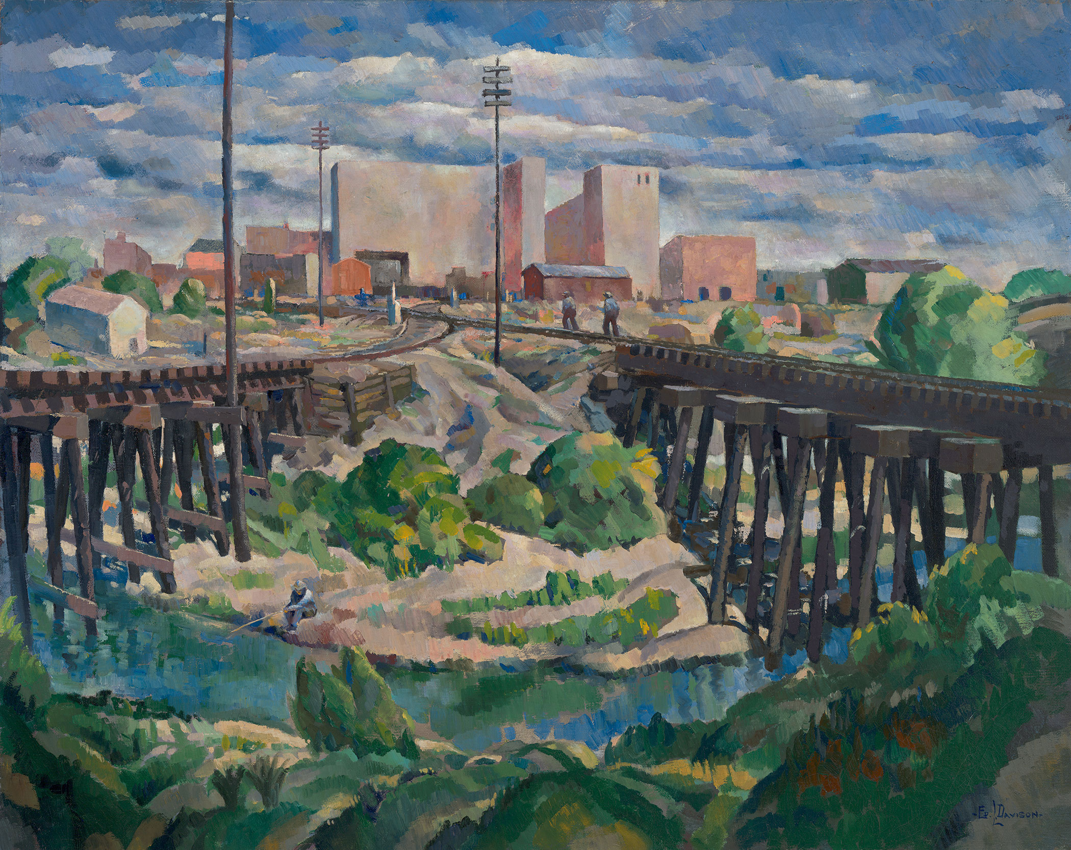 An oil painting of two railroad bridges coming together with a person fishing in the river below and two men walking the tracks.