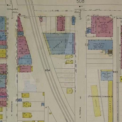 A Sanborn map from 1950 showing a lumber yard now on the site of the former La Topeka.